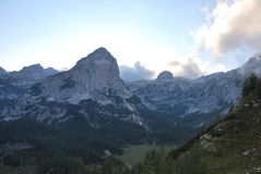Mountains in Slovenia, in the Triglav National Park. Royalty Free Stock Photo