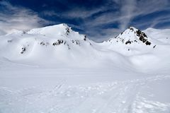 Mountains in snow stock photos