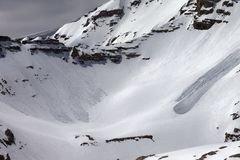 Mountains with snow cornice and traces from avalanches Stock Photo