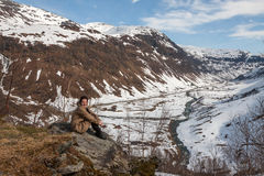 Mountains, snow-covered fjord Stock Images