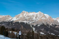 Mountains with snow in Europe: Dolomites Alps peaks for winter sports Stock Photo