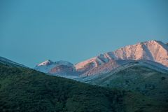 Mountains in the snow royalty free stock photo