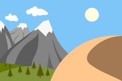 Mountains with snow and a mountain in the desert, climate change concept Stock Photos