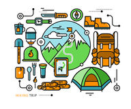 Mountains with Snow Peaks and Tourist Equipment. Hiking trip. Mountaineering. Travel. Stroke icons for web design, analytics, graphic design and in flat design Royalty Free Stock Image