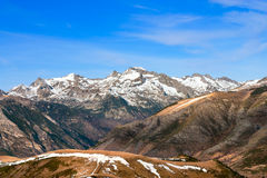 Mountains with snow - Pyrenees. Winter begins in the Pyrenees Stock Image