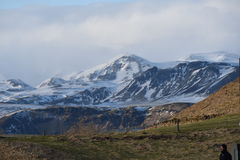 Mountains with snow in Vik City Stock Photo