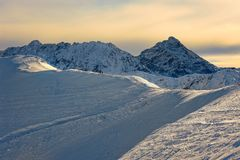 Mountains with snow in winter, Royalty Free Stock Images