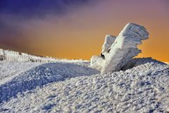 Mountains with snow in winter, Royalty Free Stock Photo