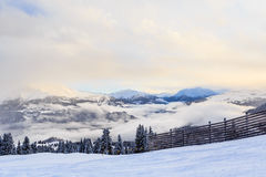 Mountains with snow in winter.  Ski Resort Laax Royalty Free Stock Images