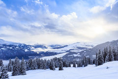 Mountains with snow in winter.  Ski Resort Laax Stock Photos
