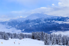 Mountains with snow in winter.  Ski Resort Laax Stock Photo