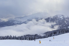 Mountains with snow in winter.  Ski Resort Laax Royalty Free Stock Photos