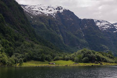 The mountains on the Sognefjord Stock Images