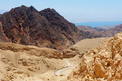 Mountains in the south of Israel and Red Sea Royalty Free Stock Photos
