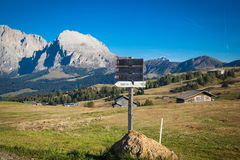 Mountains in South Tyrol. Seiser Alm and Rosengarten in South Tyrol Royalty Free Stock Image