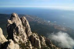 Mountains of southern coast of Crimea. Crimea. Seacoast at the foot of a hill Ah Petri Stock Image