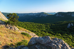 Mountains southern coast at dawn. View from the top of the mountain Ilyas Kaya. Royalty Free Stock Photos