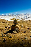 Mountains of Southern Tibet with stone pile Stock Photos