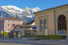 Mountains and Spa house with Cat statue in Bad Ragaz Stock Image