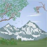 Mountains spring landscape with flying cranes Vector. Illustration vector illustration