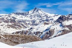 Mountains in the spring. Ski Area on a background of mountains in the spring. Tignes, France Stock Images