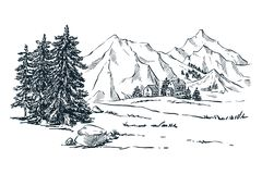 Mountains, spruce and pine trees landscape, vector sketch illustration. Hand drawn winter hills and forest. royalty free illustration
