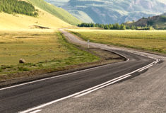 Mountains steppe road Stock Photo
