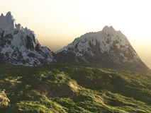 Mountains and the stone field Stock Photography