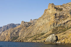 Mountains and stones on the coast in South-Eastern Crimea.  royalty free stock photo