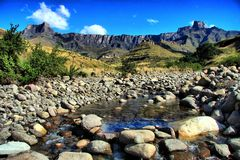 Mountains and Stream Royalty Free Stock Photos