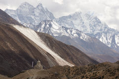 Mountains and Stupa Royalty Free Stock Photo
