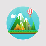 Mountains summer landscape. Concept with flat camping travel ico. Ns vector illustration Stock Photos