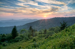 Mountains Summer Sunset Landscape in Blue Ridge Royalty Free Stock Photography