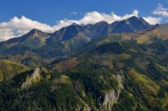 Mountains summits. Autumn coloured mountains summits in Tatra Royalty Free Stock Images