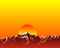 Mountains with sun Stock Images