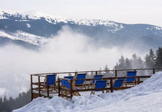 Mountains. Sunbeds in the mountains at a ski resort Bukovel, Ukraine Royalty Free Stock Photography