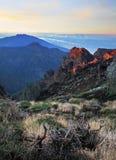 Mountains sunrise. Canaries La Palma, crater of volcano Caldera di Taburiente Stock Photography