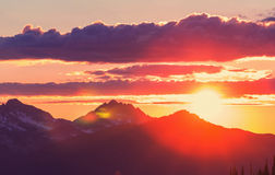 Mountains on sunset Royalty Free Stock Images