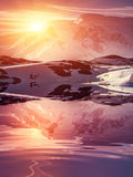 Mountains at sunset in Antarctica Stock Image