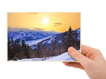 Mountains sunset (Austria) photography in hand Royalty Free Stock Photo