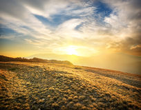 Mountains at sunset. Beautiful sunset in Crimean mountains in autumn royalty free stock image