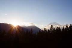 Mountains and Sunset. Sunset with Mt. Rainier in the background Royalty Free Stock Photography