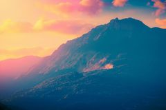 Mountains at sunset. Scenic landscape. Mountains at sunset. Scenic nature landscape royalty free stock photography