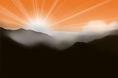 Mountains on the sunset sky with haze. Mountain landscape at sunset with mist Stock Images