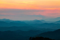 Mountains at Sunset Smoky Mountains National Park Tennessee. Blue mountains at sunset Smoky Mountains national Park in Tennessee Royalty Free Stock Images
