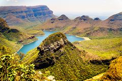Mountains surrounding the Blyde River Dam in the Blyde River Canyon Nature Reserve. On the Panorama Route in Mpumalanga Province of South Africa Stock Image