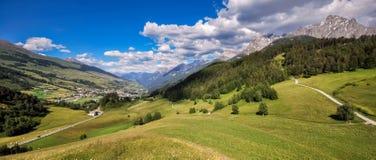 Mountains surrounding the village and Castle of Tarasp Graubunden, Switzerland stock images