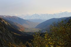 Mountains in Svaneti, Georgia. The landscape of Svaneti is dominated by mountains that are separated by deep gorges Stock Photo