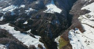 Mountains in switzerland at winter time aerial view. Alps mountains in switzerland at winter time aerial view stock footage