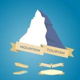 Mountains symbol with ribbon Royalty Free Stock Photo